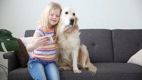 Συσκευές στις ζωές των παιδιών Ένα μικρό κορίτσι selfie με το σκυλί της σε ένα smartphone Θέση - καναπές στη διαβίωση απόθεμα βίντεο