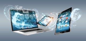 Συσκευές τεχνολογίας με τα εικονίδια και γραφικές παραστάσεις που πετούν την τρισδιάστατη απόδοση Στοκ εικόνα με δικαίωμα ελεύθερης χρήσης