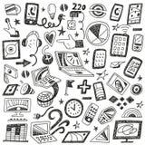 Συσκευές, υπολογιστές - doodles θέστε Στοκ Φωτογραφία