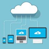Συσκευές υπολογιστών connecter στην υπηρεσία σύννεφων ελεύθερη απεικόνιση δικαιώματος