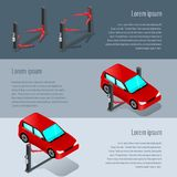 Συσκευή για το αυτοκίνητο στο εργαστήριο, επισκευή αυτοκινήτων απεικόνιση αποθεμάτων