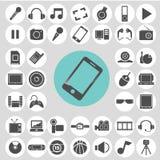 Συσκευή και σύνολο εικονιδίων ψυχαγωγίας Απεικόνιση αποθεμάτων