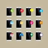 Συσκευή: Τηλεφωνικά apps εικονίδια χεριών 10 eps Στοκ Εικόνες