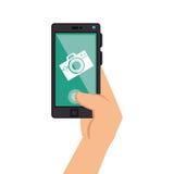 Συσκευή Smartphone με φωτογραφικό app Στοκ εικόνα με δικαίωμα ελεύθερης χρήσης