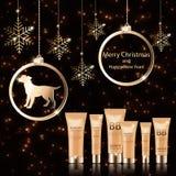 Συσκευασία δώρων Χριστουγέννων για τα καλλυντικά ελεύθερη απεικόνιση δικαιώματος