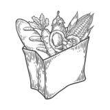 Συσκευασία εγγράφου με τα φρέσκα υγιή προϊόντα Οργανικά προϊόντα από το αγρόκτημα διανυσματική απεικόνιση