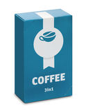 Συσκευασία του διαλυτού καφέ 3Ð ² 1 Στοκ Εικόνες