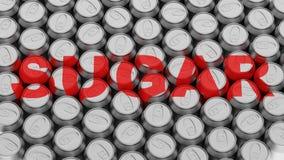 Συσκευασμένη σειρά δοχείων αργιλίου με την ετικέτα ζάχαρης Στοκ εικόνα με δικαίωμα ελεύθερης χρήσης