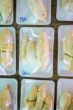 Συσκευασμένος ξεφλουδισμένος durian στοκ εικόνα