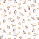 Συσκευασμένο άνευ ραφής σχέδιο μεσημεριανού γεύματος, συρμένα χέρι επίπεδα διανυσματικά τρόφιμα χρώματος διανυσματική απεικόνιση