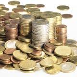 Συσσωρευμένα ευρο- νομίσματα Στοκ Φωτογραφία