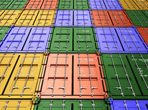 Συσσωρευμένα ζωηρόχρωμα εμπορευματοκιβώτια φορτίου βιομηχανικά και μεταφορά Στοκ Εικόνα