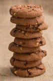 Συσσωρευμένα καφετιά μπισκότα Στοκ Εικόνες