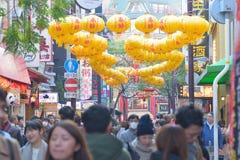 Συσσωρευμένες οδοί αγορών στην πόλη της Κίνας σε Yokohama, Ιαπωνία Στοκ φωτογραφίες με δικαίωμα ελεύθερης χρήσης