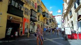 Συσσωρευμένες οδοί παλαιού Valletta, Μάλτα απόθεμα βίντεο