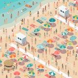 Συσσωρευμένη ζωηρόχρωμη παραλία απεικόνιση αποθεμάτων