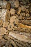 Συσσωρευμένη ξυλεία δέντρων με το φλοιό για το καυσόξυλο Στοκ Εικόνες