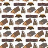 Συσσωρευμένη ξύλινη ξυλεία πεύκων για το άνευ ραφής διάνυσμα υποβάθρου σχεδίων φλοιών δέντρων ξυλείας κολοβωμάτων περικοπών κτηρί Στοκ Φωτογραφίες