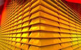 Συσσωρευμένη χρυσή αντανακλαστική και λαμπρή χρυσή φραγμοί ή χρυσή ράβδος στοκ φωτογραφία