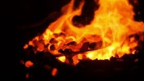Συσσωρεύοντας τους επάνω καίγοντας άνθρακες σφυρηλατήστε απόθεμα βίντεο