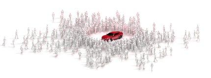 Συστάδα των ανθρώπων που θαυμάζουν το αυτοκίνητο Στοκ Φωτογραφία