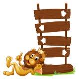 Συστήματα σηματοδότησης βελών με ένα λιοντάρι βασιλιάδων απεικόνιση αποθεμάτων