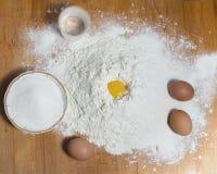 συστατικά αλευριού αυγών ζύμης Στοκ Εικόνες