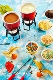 Συστατικά για γαστρονομικό fondue σοκολάτας Στοκ Φωτογραφίες