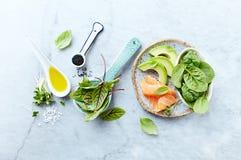 Συστατικά για μια υγιή σαλάτα στο γκρίζο υπόβαθρο πετρών Καπνισμένος σολομός, αβοκάντο, σπανάκι, sorrel, νεαροί βλαστοί radis, μα στοκ εικόνα
