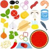 Συστατικά για να κάνει την πίτσα διανυσματική απεικόνιση