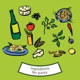 Συστατικά για τα ζυμαρικά Στοκ Εικόνες