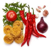 Συστατικά για τα ιταλικά ζυμαρικά. Στοκ εικόνες με δικαίωμα ελεύθερης χρήσης