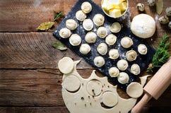 Συστατικά για την παραγωγή του pelmeni, ravioli, μπουλέττες - ζύμη, δεντρολίβανο, κυλώντας καρφίτσα, νήμα καμβά, βούτυρο, φύλλο κ στοκ εικόνα με δικαίωμα ελεύθερης χρήσης