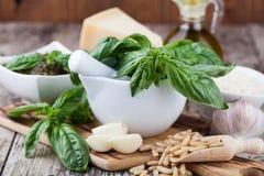 Συστατικά για την παραγωγή του pesto Στοκ εικόνα με δικαίωμα ελεύθερης χρήσης