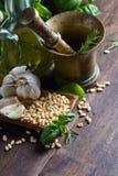 Συστατικά για την παραγωγή του pesto Στοκ Εικόνα