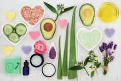 Συστατικά για την υγειονομική περίθαλψη σώματος και δερμάτων στοκ φωτογραφία με δικαίωμα ελεύθερης χρήσης