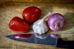 Συστατικά για τη σάλτσα πιτσών Στοκ εικόνα με δικαίωμα ελεύθερης χρήσης