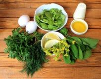 Συστατικά για τη σαλάτα με τα αυγά και τα πράσινα Στοκ εικόνα με δικαίωμα ελεύθερης χρήσης