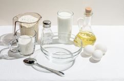 Συστατικά για τις τηγανίτες στοκ φωτογραφία