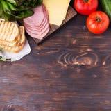 Συστατικά για το σάντουιτς Στοκ φωτογραφία με δικαίωμα ελεύθερης χρήσης