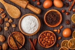 Συστατικά για το ψήσιμο μαγειρέματος Στοκ Φωτογραφία
