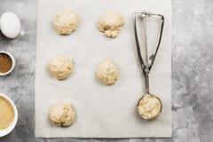 Συστατικά για το ψήσιμο των μπισκότων - αλεύρι, αυγά, καρυκεύματα, βανίλια Στοκ εικόνα με δικαίωμα ελεύθερης χρήσης