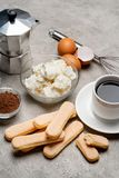Συστατικά για το tiramisu μαγειρέματος - μπισκότα, mascarpone, κρέμα, ζάχαρη, κακάο, καφές και αυγό μπισκότων Savoiardi στοκ φωτογραφίες με δικαίωμα ελεύθερης χρήσης