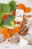 Συστατικά που περιέχουν το ασβέστιο και την τροφική ίνα, υγιής διατροφή στοκ εικόνα