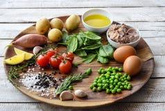 Συστατικά Σαλάτα τόνου με το μαρούλι, τα αυγά και τις ντομάτες Στοκ Εικόνα