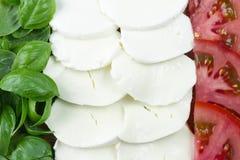 Συστατικό για τη σαλάτα Caprese Τεμαχισμένες ντομάτες, μοτσαρέλα και δέσμη του βασιλικού στοκ φωτογραφία