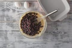 Συστατικό και συνταγή τροφίμων για την υποστήριξη & x28 κέικ, επιδόρπιο, γλυκό, choco Στοκ Φωτογραφία