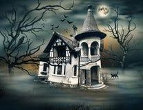Συχνασμένο σπίτι με τη σκοτεινή ατμόσφαιρα Horrow Στοκ εικόνες με δικαίωμα ελεύθερης χρήσης