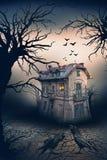 Συχνασμένο σπίτι με τους κόρακες και τη σκηνή φρίκης Στοκ Εικόνες