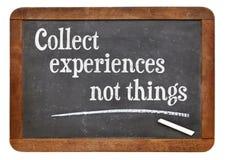 Συλλέξτε τα πράγματα εμπειρίας όχι στοκ φωτογραφία με δικαίωμα ελεύθερης χρήσης
